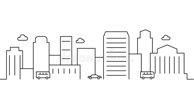 City landscape template. Thin line City landscape. Cityscape, cars Isolated outline illustration. Urban life Vector illustration royalty free illustration