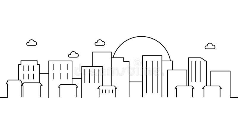 City landscape template. Thin line City landscape. Cityscape, cloud, sun Isolated outline illustration. Urban life Vector illustra stock illustration