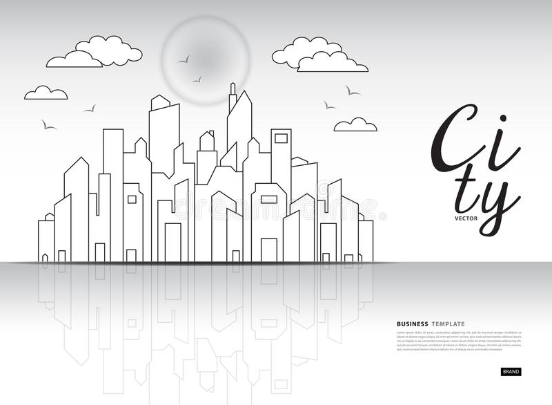 City landscape template vector illustration, Downtown landscape with high skyscrapers, Web banner, buildings ads. Urban life, Business Brochure flyer vector illustration