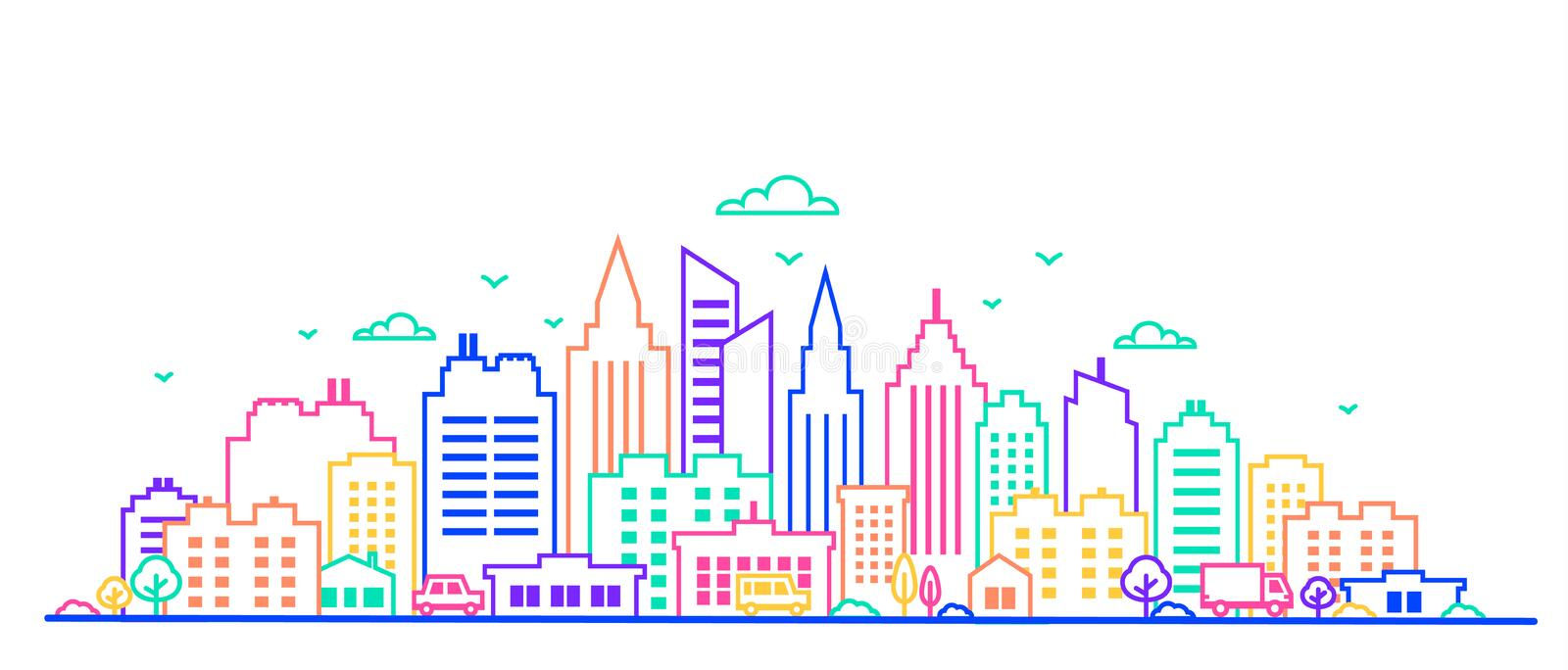 City landscape. Thin line City landscape in neon glow vivid colors.. Downtown landscape with high skyscrapers. Panorama. Architecture Goverment buildings royalty free illustration