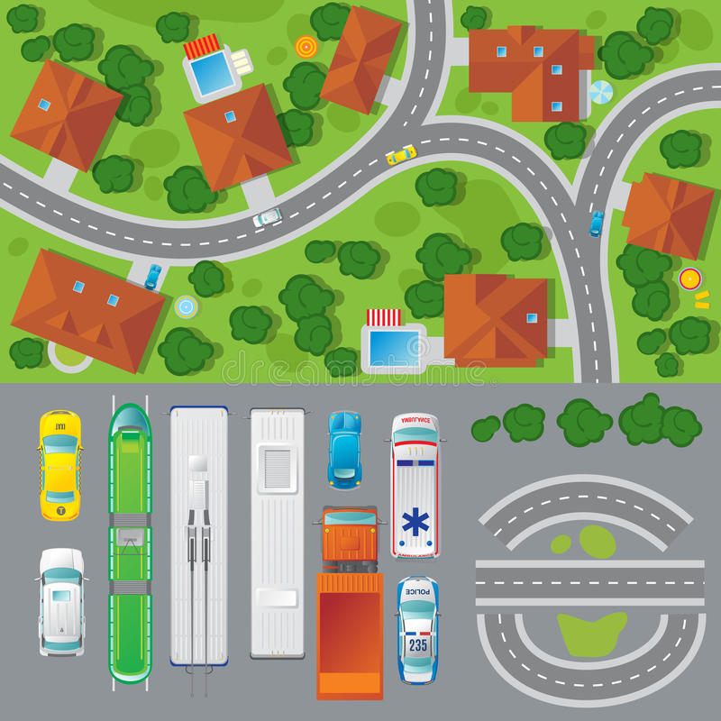 City Landscape Top View Concept royalty free illustration