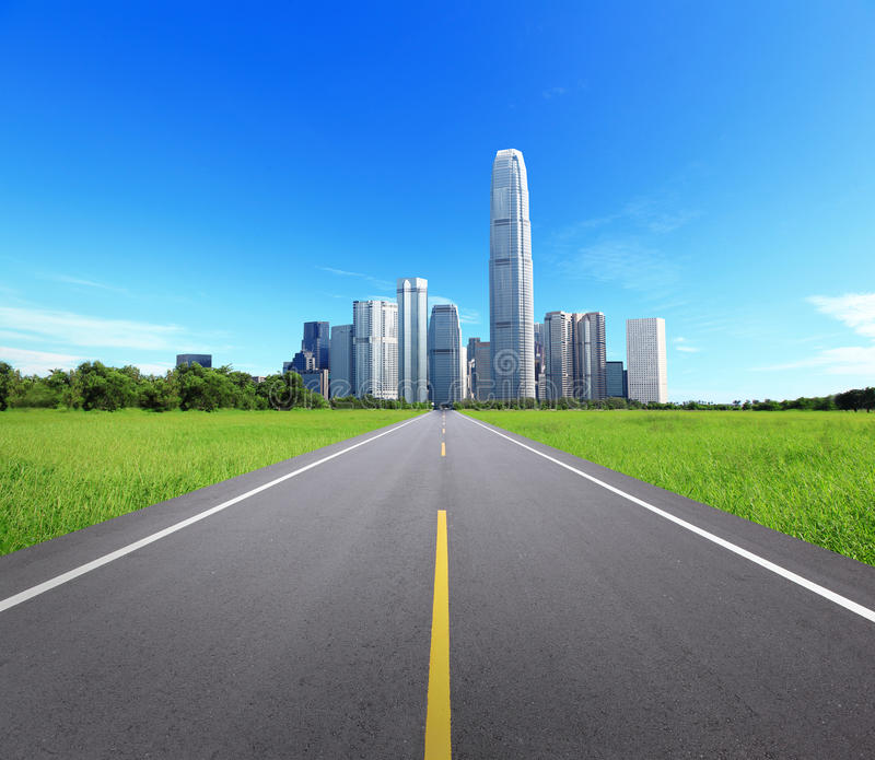 City Landscape with Trees and Road. Concept for business and eco, great for your background stock photo