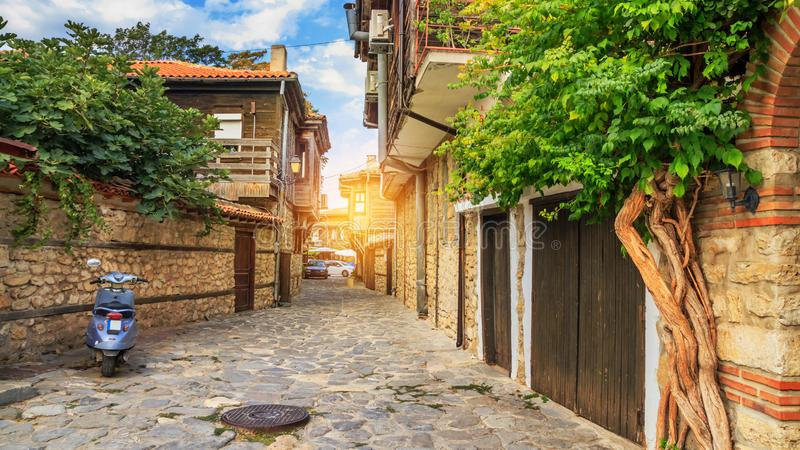 City landscape - view of the old streets and homes in balkan style, the Old Town of Nesebar. In Burgas Province on the Black Sea coast of Bulgaria royalty free stock photography