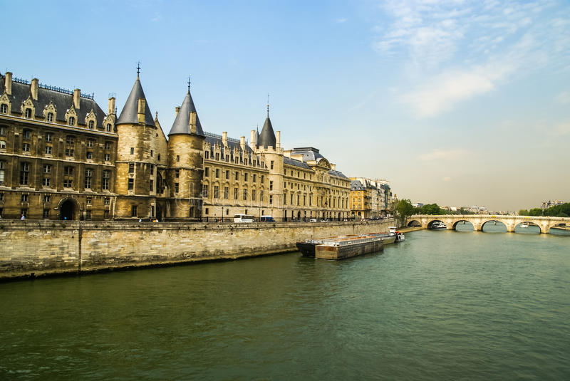 City landscape with view over the river, Paris, France stock photos