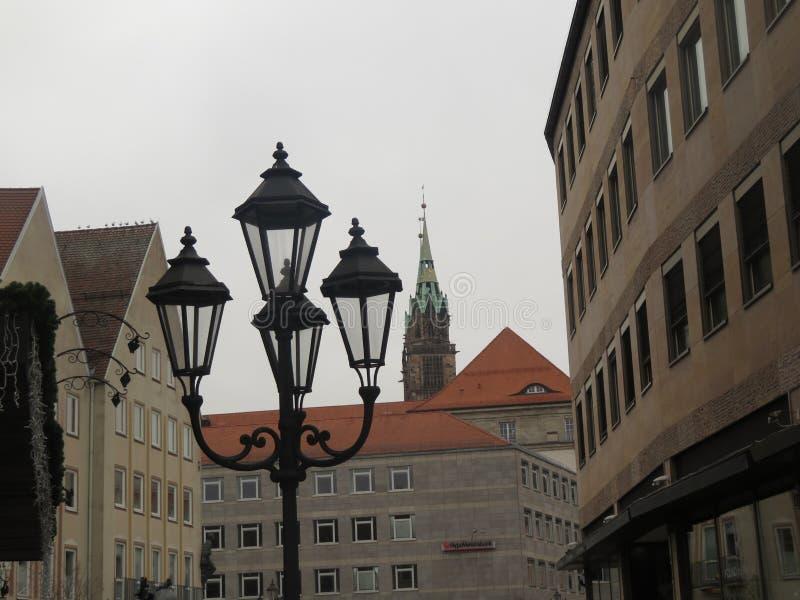 City lantern lighting stock photo