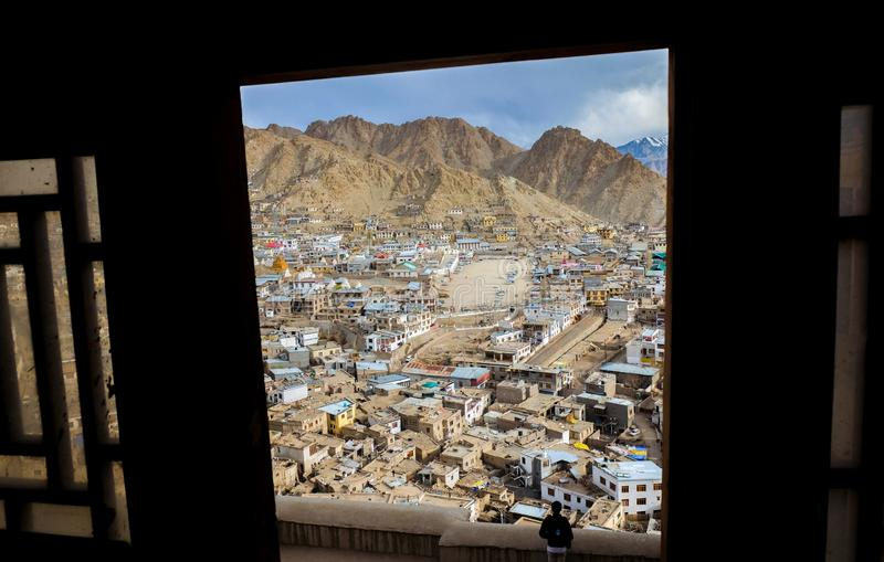 The city of Leh, Leh is located in the Indian Himalayas at an altitude of 3500 meters. viewed from Leh Palace. The city of Leh, Leh city is located in the Indian royalty free stock photos