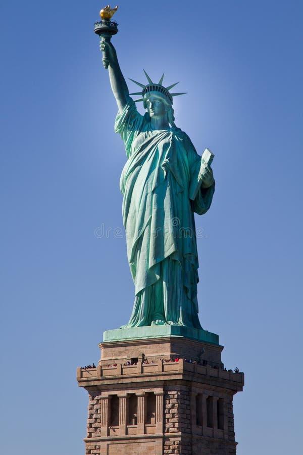 city liberty newyork statue sunset royaltyfria bilder