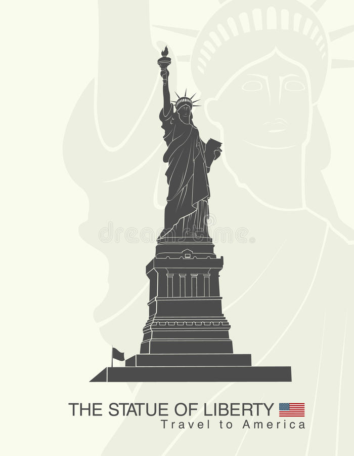 city liberty newyork statue sunset landmark New York royaltyfri illustrationer