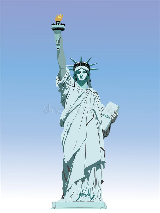 city liberty newyork statue sunset landmark New York amerikanskt symbol Vektorsi vektor illustrationer