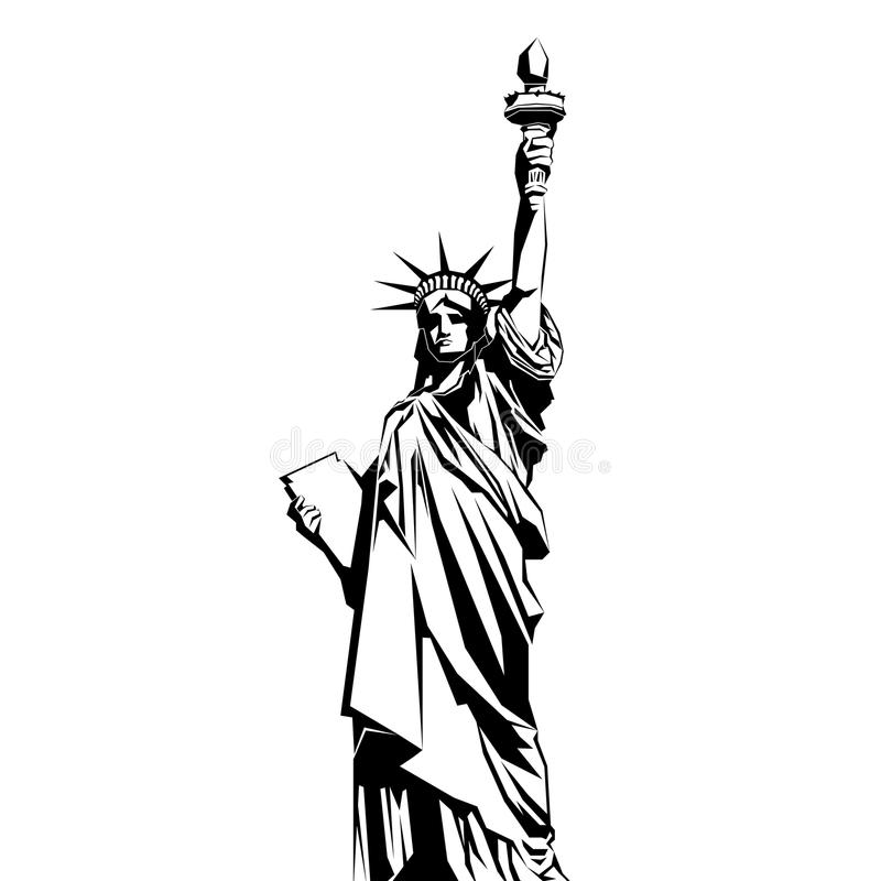 city liberty newyork statue sunset landmark New York amerikanskt symbol Vektorsi stock illustrationer