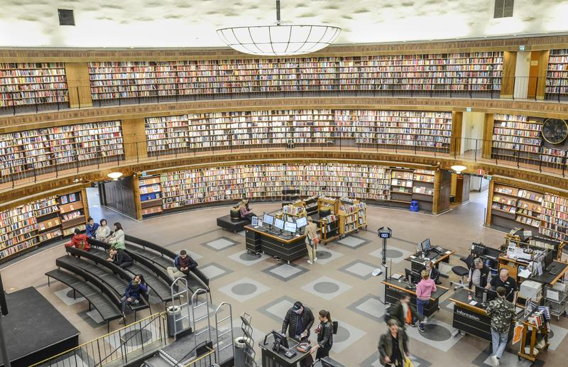 Circular public library, Stockholm, Sweden. City library with its circular walls filled with books, Stockholm, Sweden stock images