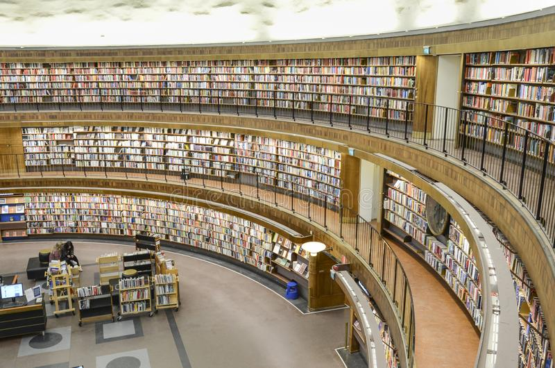 Circular public library, Stockholm, Sweden. City library with its circular walls filled with books, Stockholm, Sweden stock photo