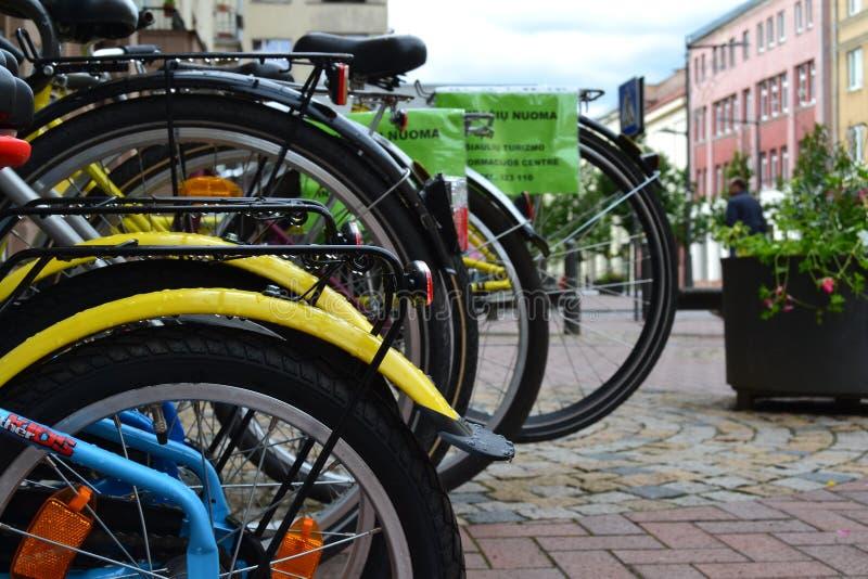 City life. Bicycles stock image