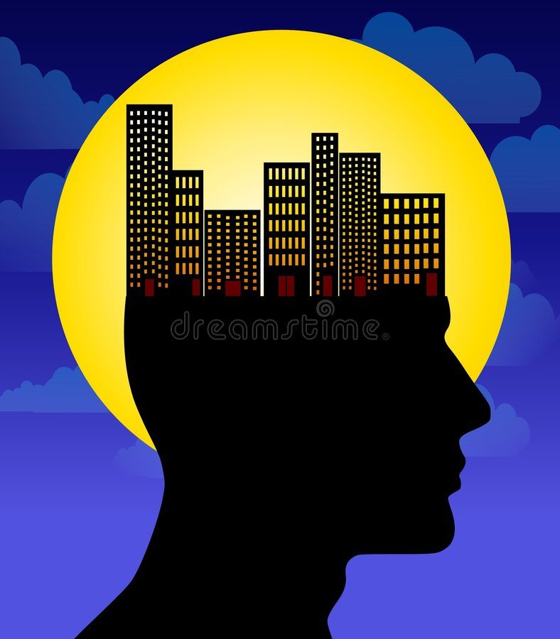 Download City Life on The Brain stock illustration. Image of moon - 5421143