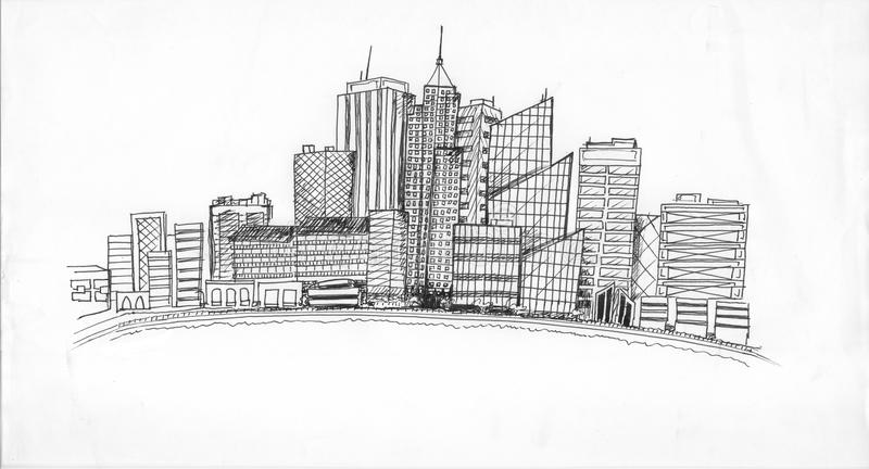 City life cityscape. An illustration of a cityscape and skyscraper buildings in an urban environment royalty free illustration