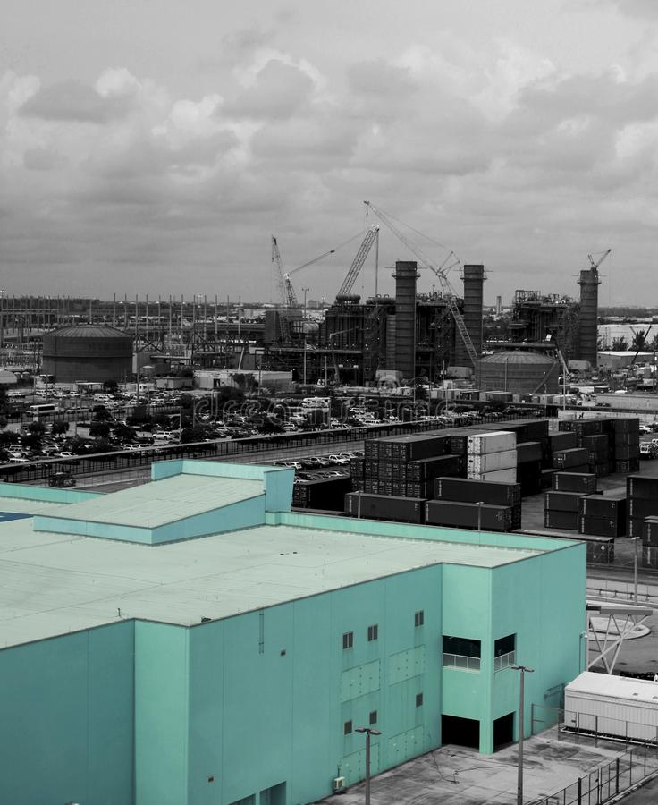 City life in Florida. A light blue building stands out of a city royalty free stock images
