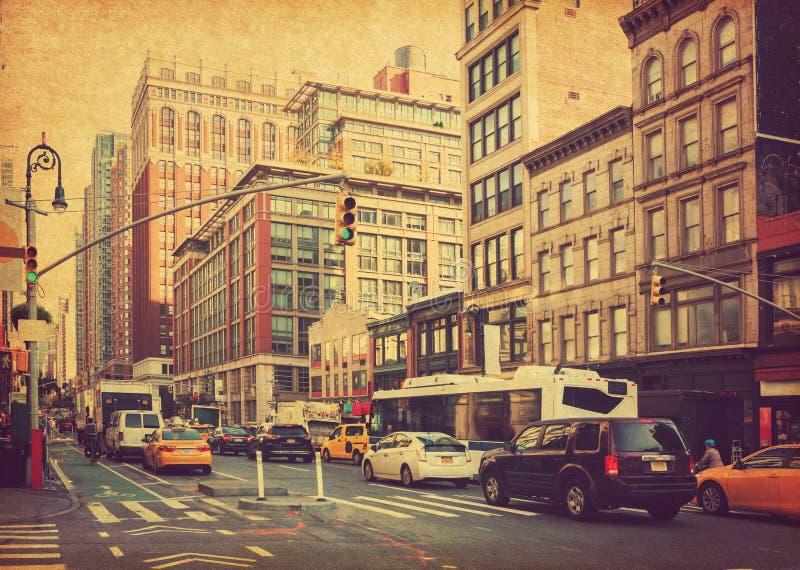 City Life i ruch na Manhattan avenue Ladies' Mile Historic District at daylight , Nowy Jork, Stany Zjednoczone Zdjęcie w r fotografia stock