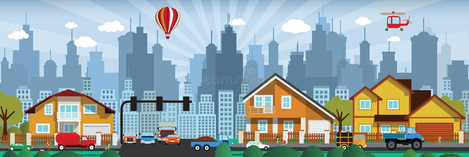 Download City life stock vector. Image of drawn, architecture - 34851444