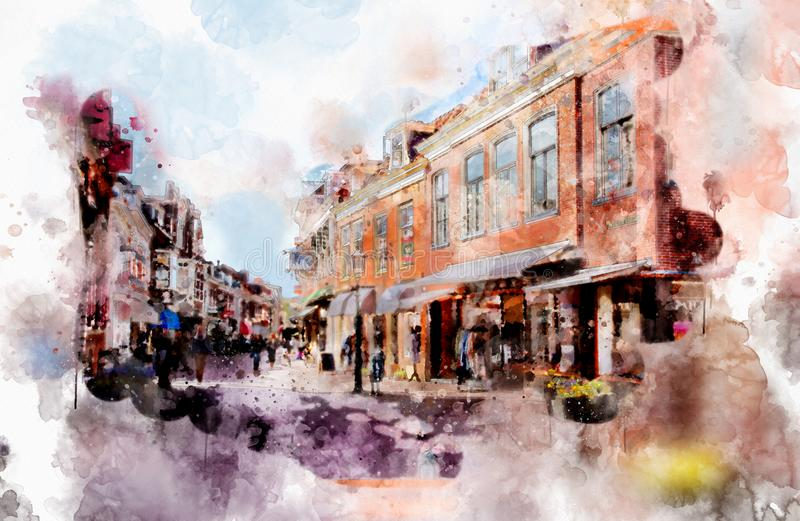 City life in watercolor style vector illustration