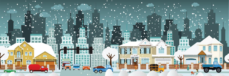 City life (Winter) vector illustration