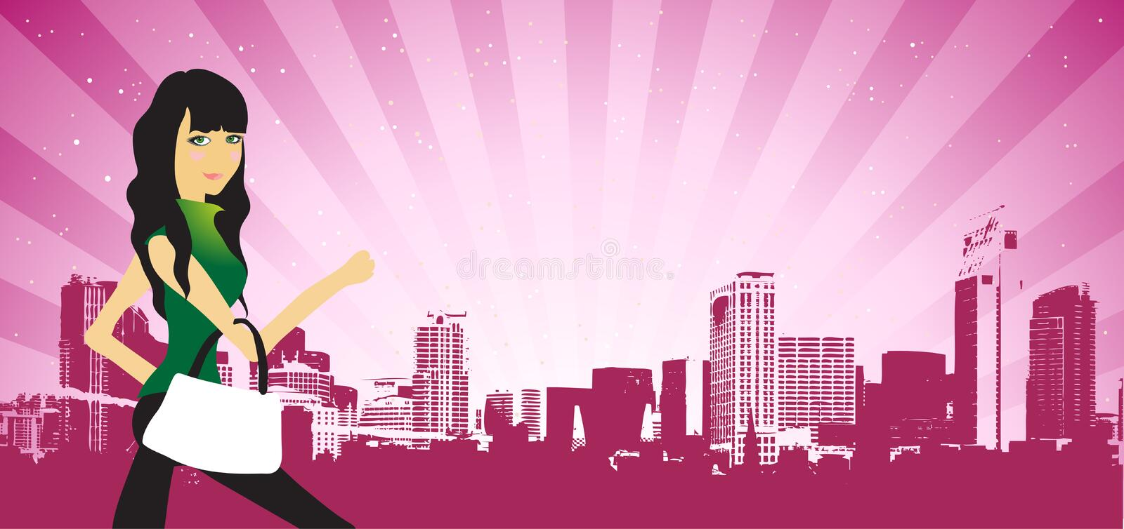 Download City Life, Woman Beautiful On The Street Stock Vector - Illustration: 8611224