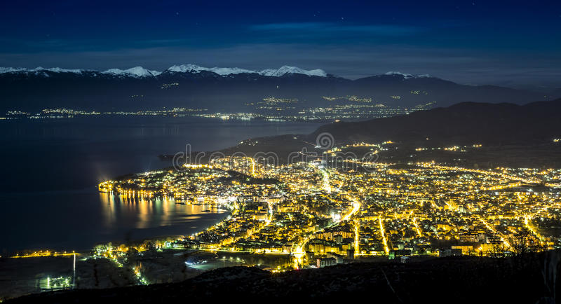 City of Light Ohrid Macedonia. Taken at Night with Struga and Mount Jablanica at background stock images
