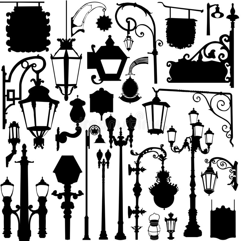 City light and sign vector illustration