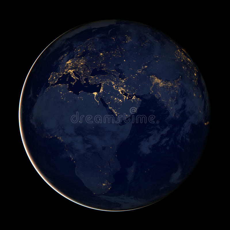 Europe, Africa, Asia, City lights map of the Eastern Hemisphere,. Europe, Africa and Asia, City lights map of the Eastern Hemisphere, Views of the lights at stock images