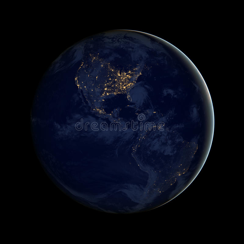 Americas, North and south America city lights of the Western Hemisphere royalty free stock photo
