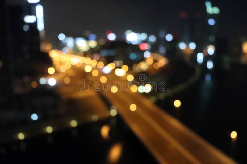 City lights blurred blur bokeh. City blur bokeh background. Black city scape background. stock image