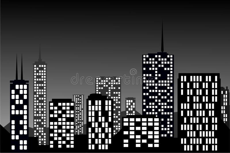 City Lights. Building and tower stock illustration