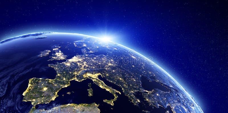 City lights - Europe vector illustration