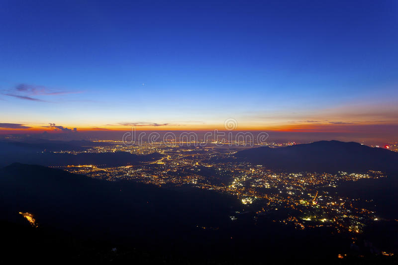 Download City Lights At Night Along Mountains In Hong Kong Stock Photo - Image: 33553940