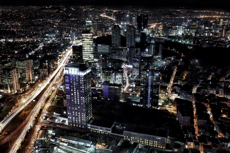 City lights. Night view of the city istanbul turkey royalty free stock photography
