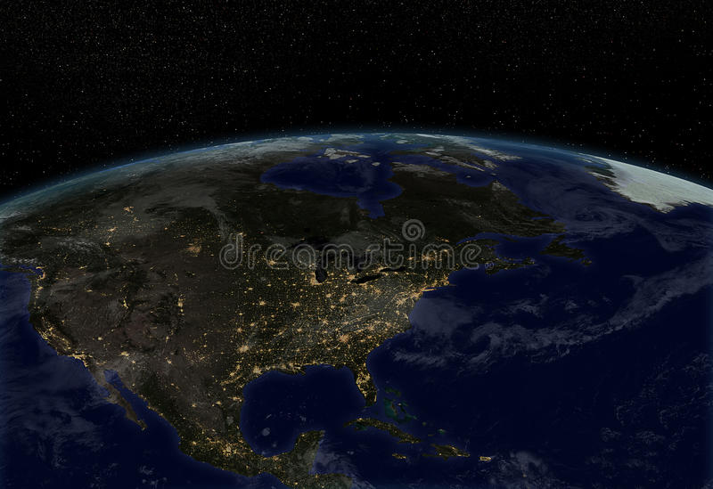 City lights - North America. Earth at night with city lights royalty free illustration