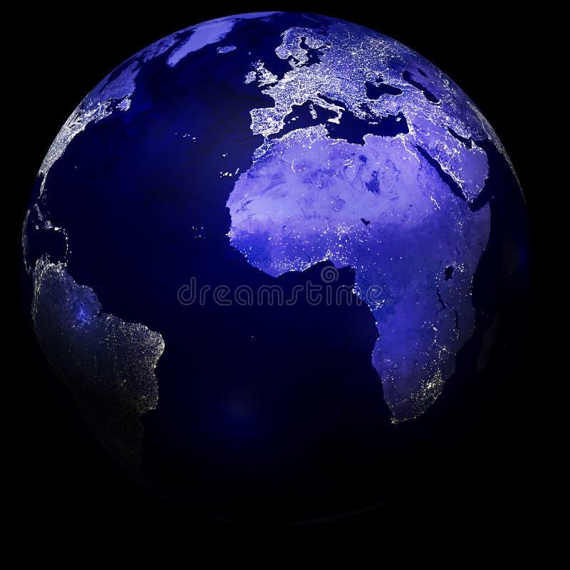 City lights on planet earth vector illustration