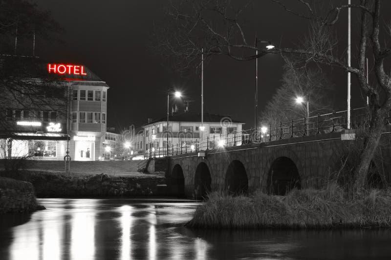 City lights reflecting at night royalty free stock image