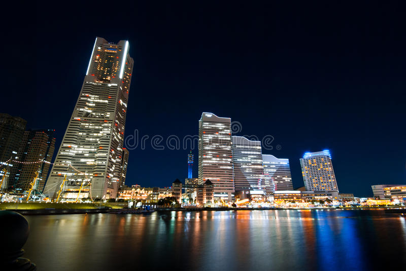 City lights of skyscrapers at Yokohama, Japan stock images