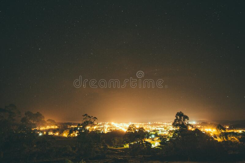 City Lights Surrounded by Trees during Nighttime stock photography