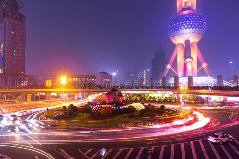 City lights and traffic lights on modern New Shanghai financal d stock image