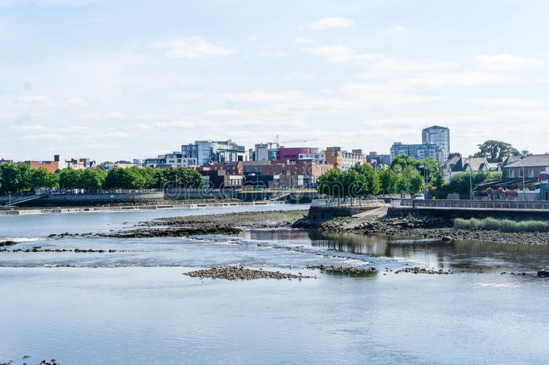 City of Limerick in Ireland with the river Shannon stock images