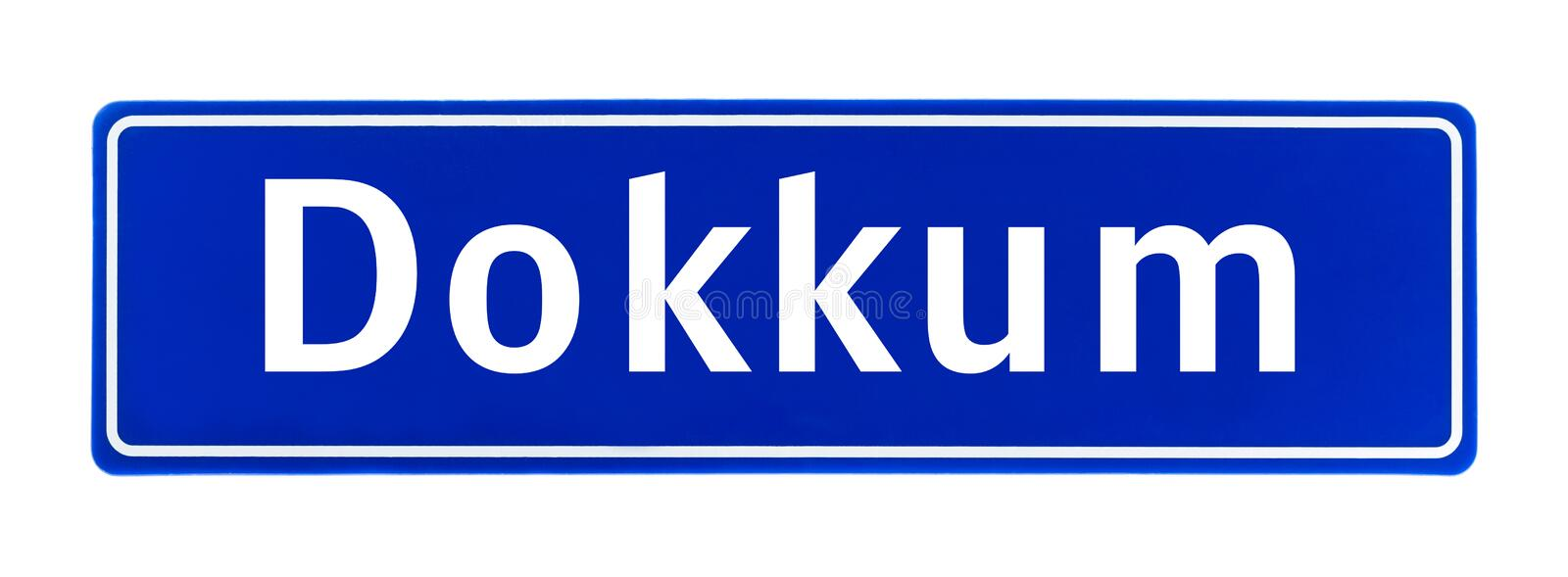 City limit sign of Dokkum, The Netherlands. Isolated on a white background stock images