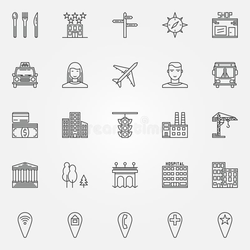 City line icons set stock illustration