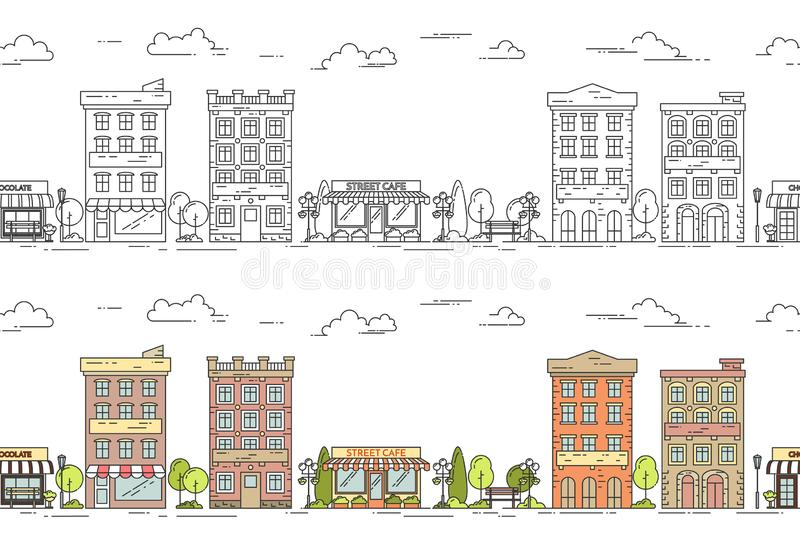 City line vector illustration seamless pattern set with vintage multi storey apartment houses with trees and clouds. stock illustration