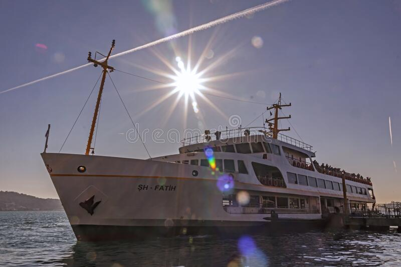 City lines ferry at Ortakoy pier for bosporus tour in istanbul stock photography