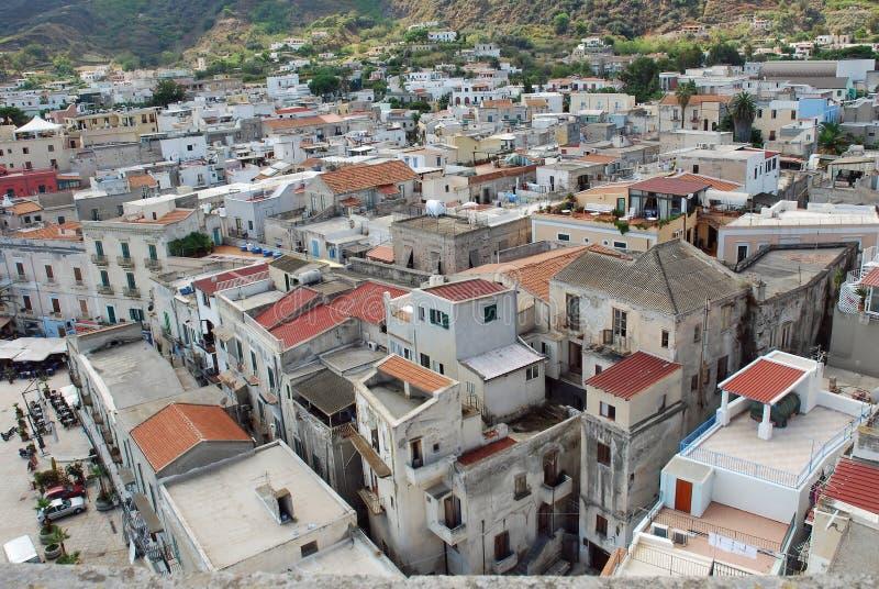 The city of Lipari Aeolian Island, Italy. The main town of the city of Lipari, Aeolian Island in the Tyrrhenian Sea off the north coast of Sicily, Italy stock photography