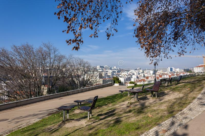 The city of Lisbon skyline from the Torel Garden, in Portugal stock photography