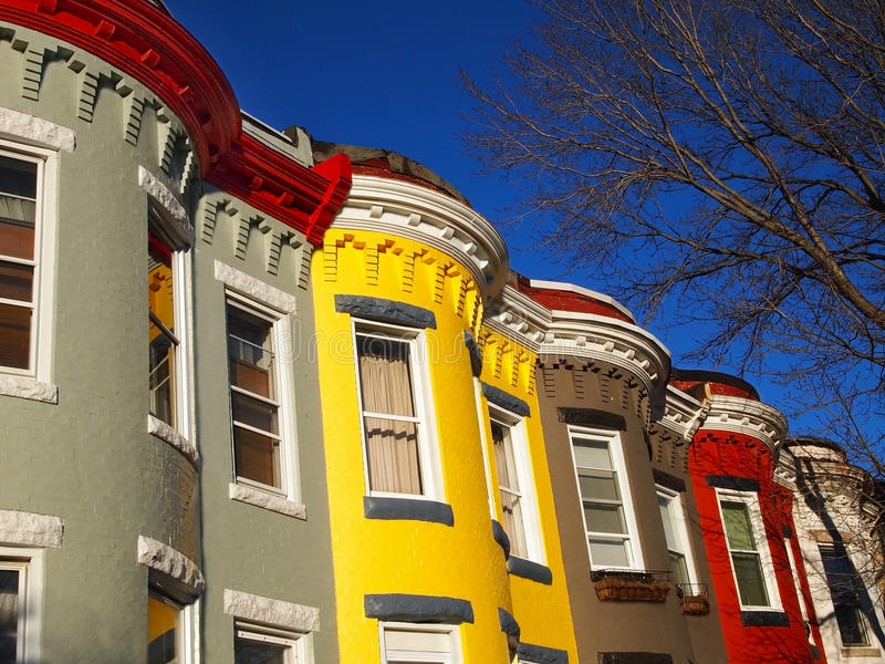 Download City Living in Row Homes stock image. Image of windows - 28800681