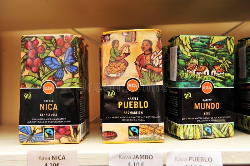 City of Ljubljana, Slovenia (Europe). 3 January 2013. Shelves of fair trade shop selling fair trade and organic coffee. stock image