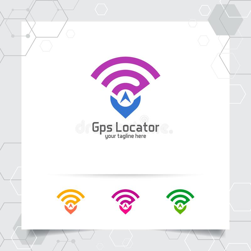 City locate logo vector with concept of pin map locator and gps signal symbol design for travel, local guide, gps, and tour. City locate logo vector with concept stock illustration